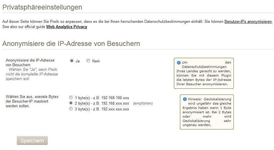 Privatsphäre Piwik Webanalyse
