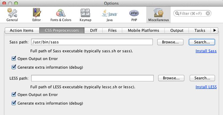 NetBeans CSS Preprocessors