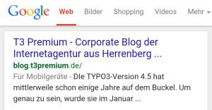Mobil optimierte Webseite bei Google