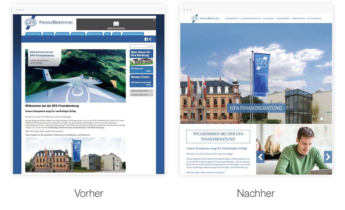 Webseiten Relaunch - vorher - nachher