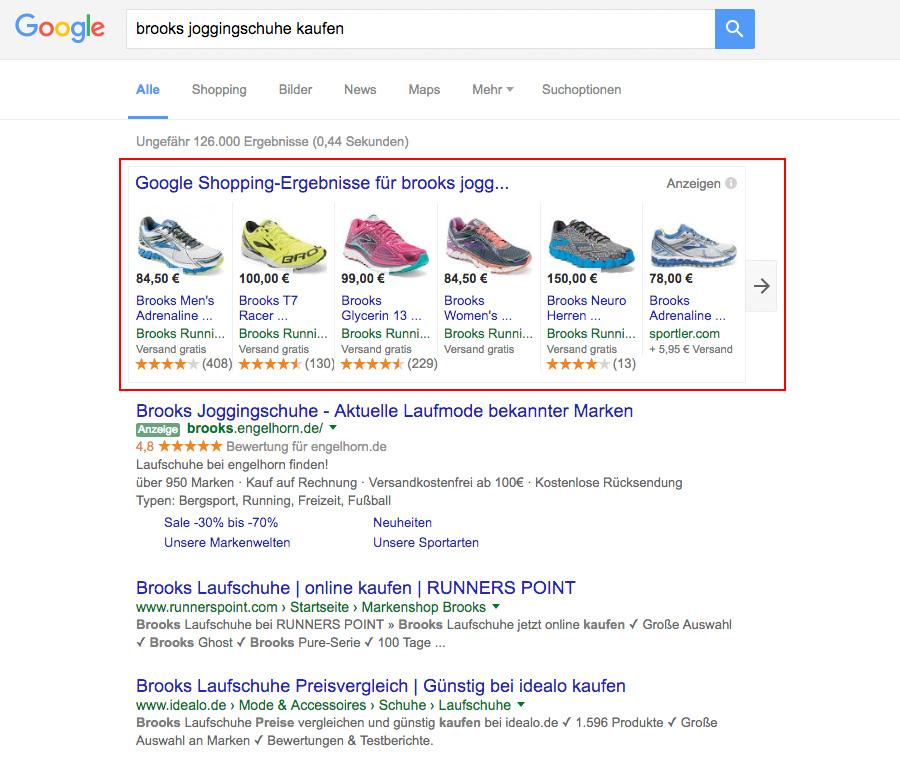 Google Shopping Anzeigen in den Suchergebnissen