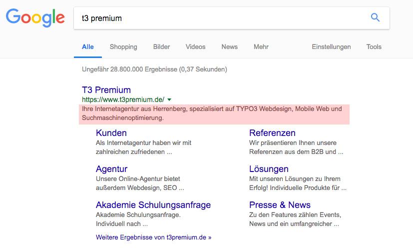 Google SEO-Description in den organischen Suchergebnissen
