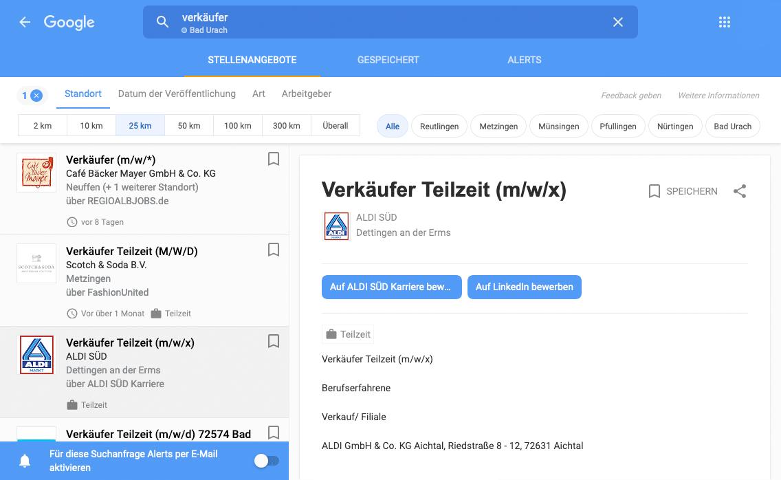 Google for Jobs: Detaillierte Suche
