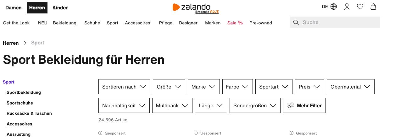 Screenshot von Website mit H1